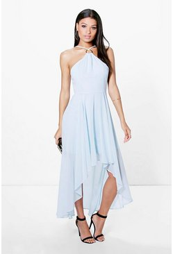 Sachiko Strappy Ring Detail Dip Hem Dress