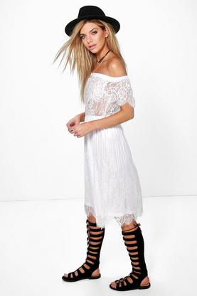 Lanying Lace Panelled Off The Shoulder Midi Dress