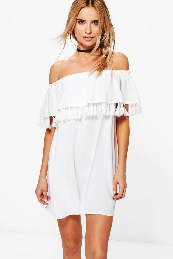 Niyati Tassel Trim Off The Shoulder Shift Dress