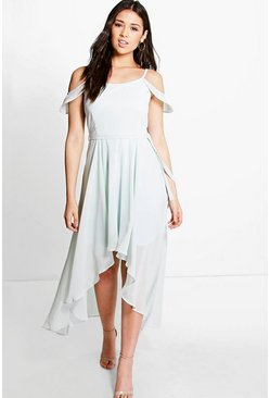 Nishi Chiffon Frill Open Shoulder Dip Hem Dress