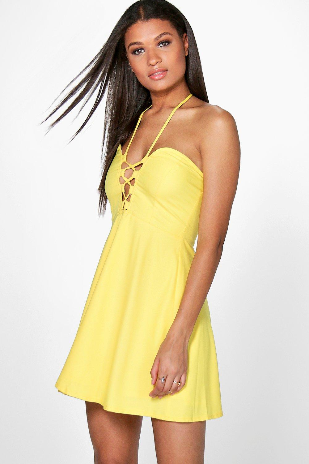 Strappy Front & Neck Skater Dress - yellow