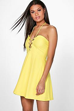 Misumi Strappy Front & Neck Skater Dress