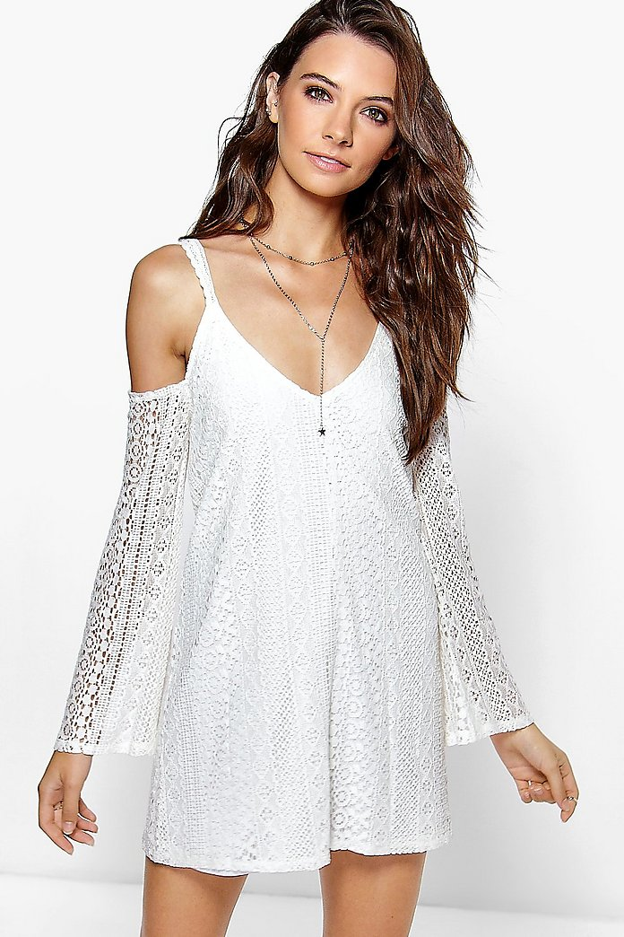 Yumiko All Over Lace Cold Shoulder Swing Dress