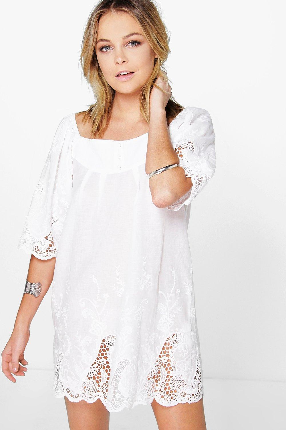 Vanita Embroidered Crochet Smock Dress
