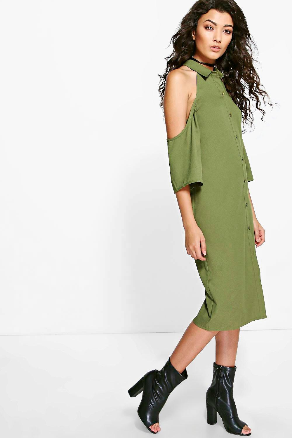 Cold Shoulder Button Through Shirt Dress  khaki