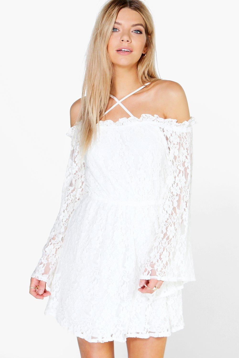 Tai Lace Strappy Wide Sleeve Skater Dress