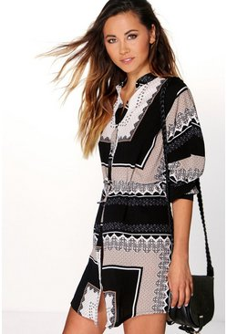 Sakura Paisley Print Shirt Dress