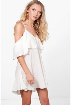 Sakiya Frill Cold Shoulder Woven Swing Dress