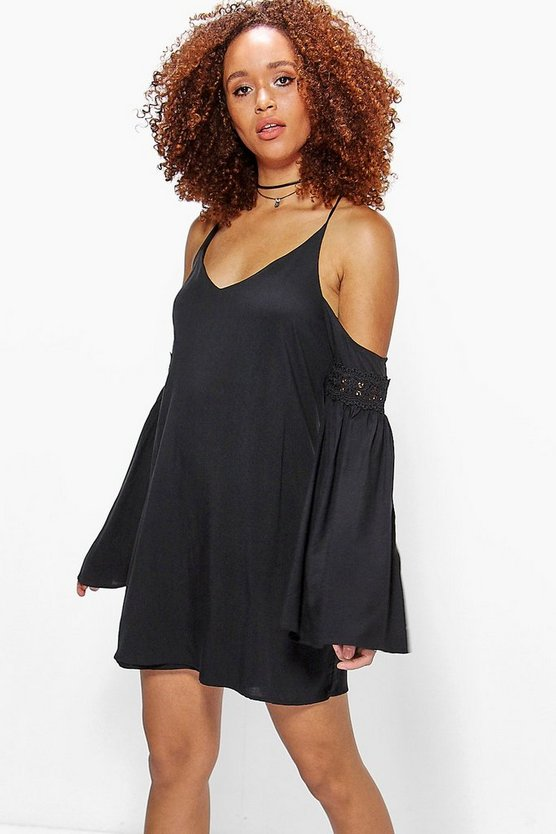 Sato Open Shoulder Trim Sleeve Swing Dress