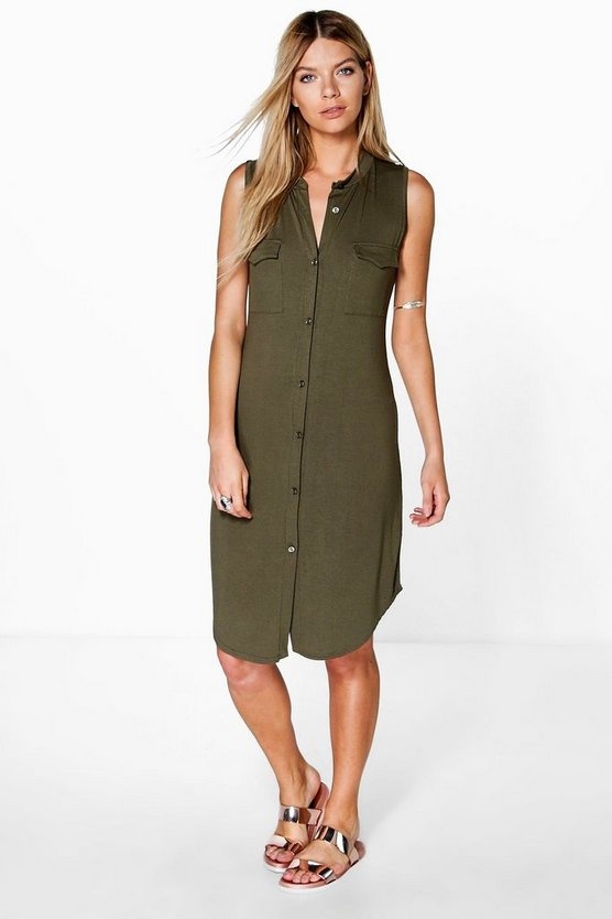 Button Through Sleeveless Shirt Dress