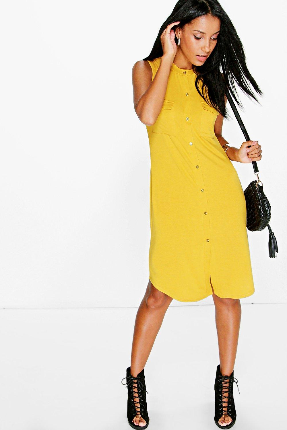 Amarlia Button Through Sleeveless Shirt Dress