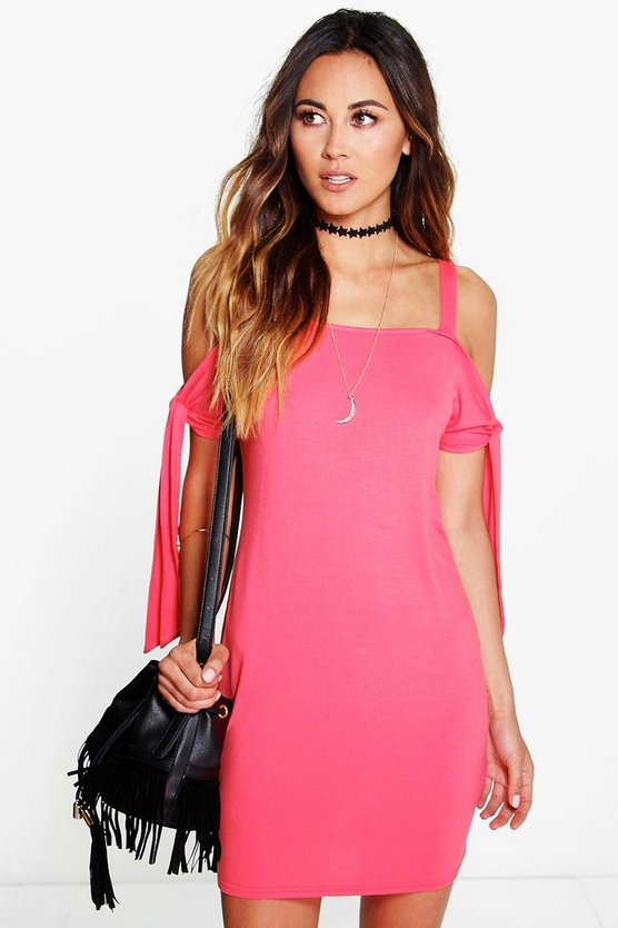 Tilly Tie Side Cold Shoulder Dress