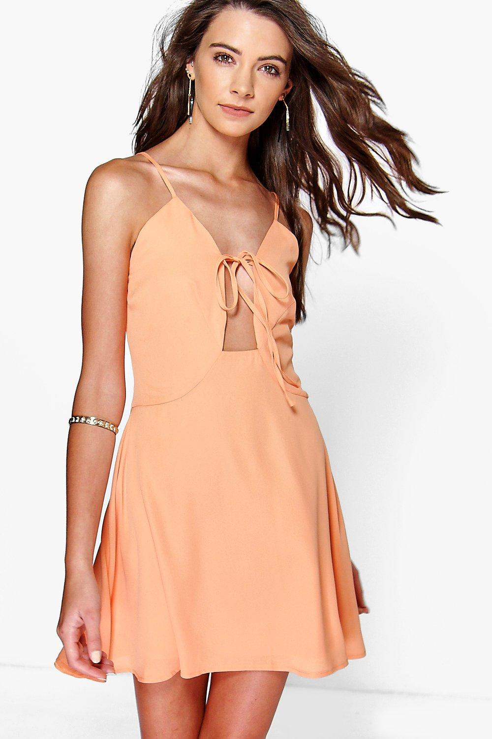Lily Strappy Tie Detail Skater Dress