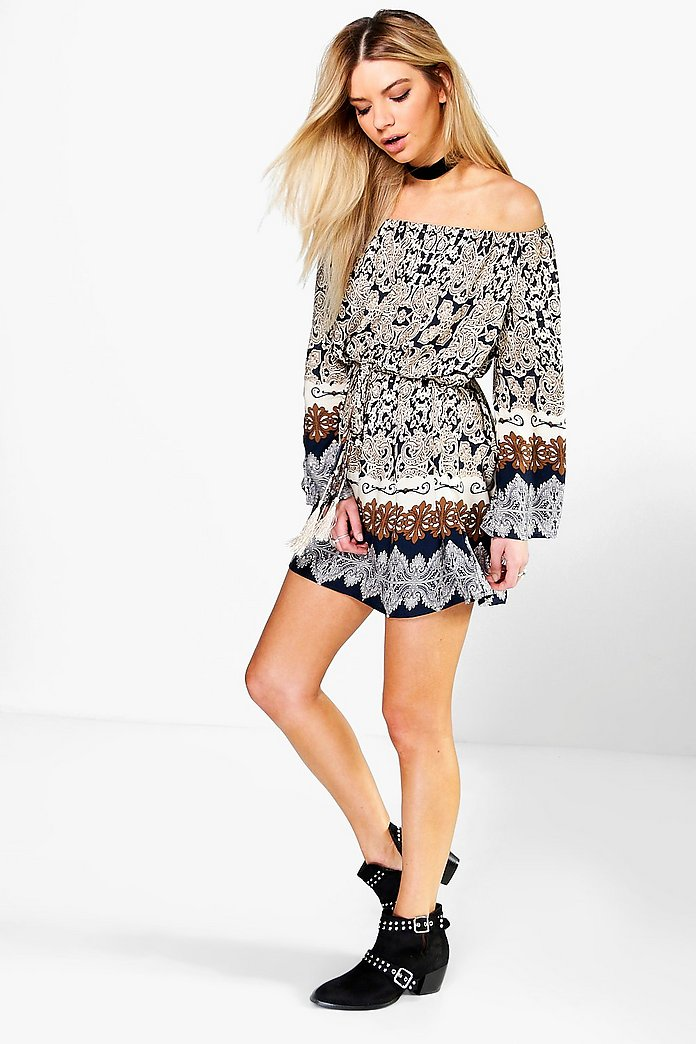 Mirablianta Off The Shoulder Paisley Belted Dress