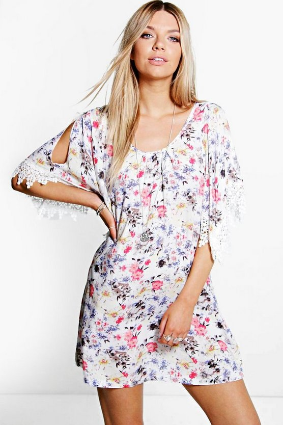 Gaby Floral Print Crochet Sleeve Dress
