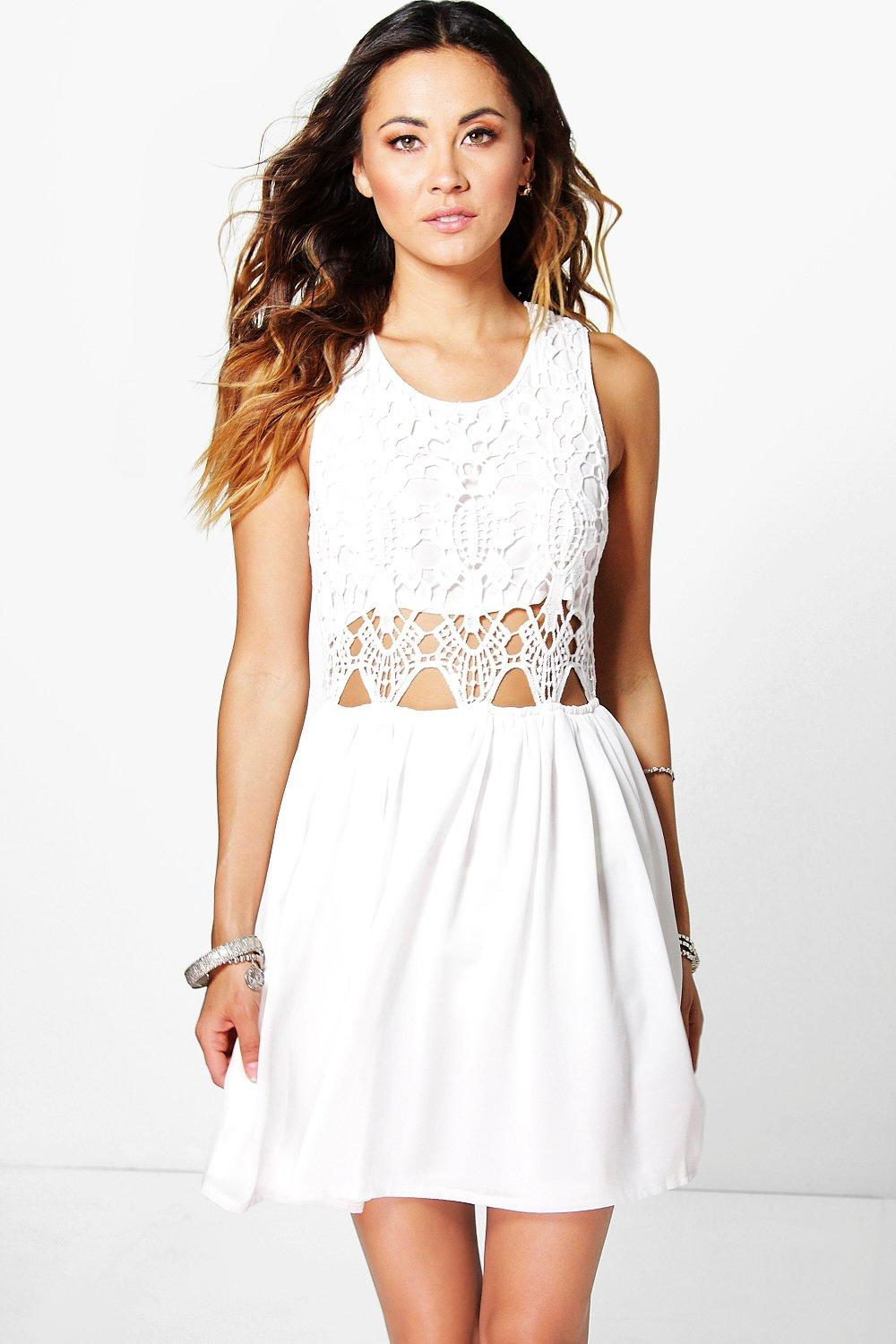 Boutique Lea Crochet Chiffon Mini Dress