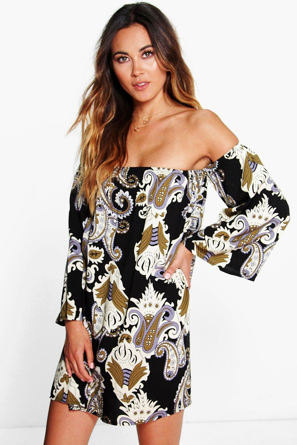 Melissa Paisley Off The Shoulder Swing Dress