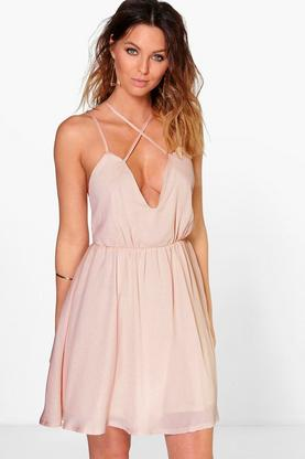 Bianca Strappy Front Detail Skater Dress