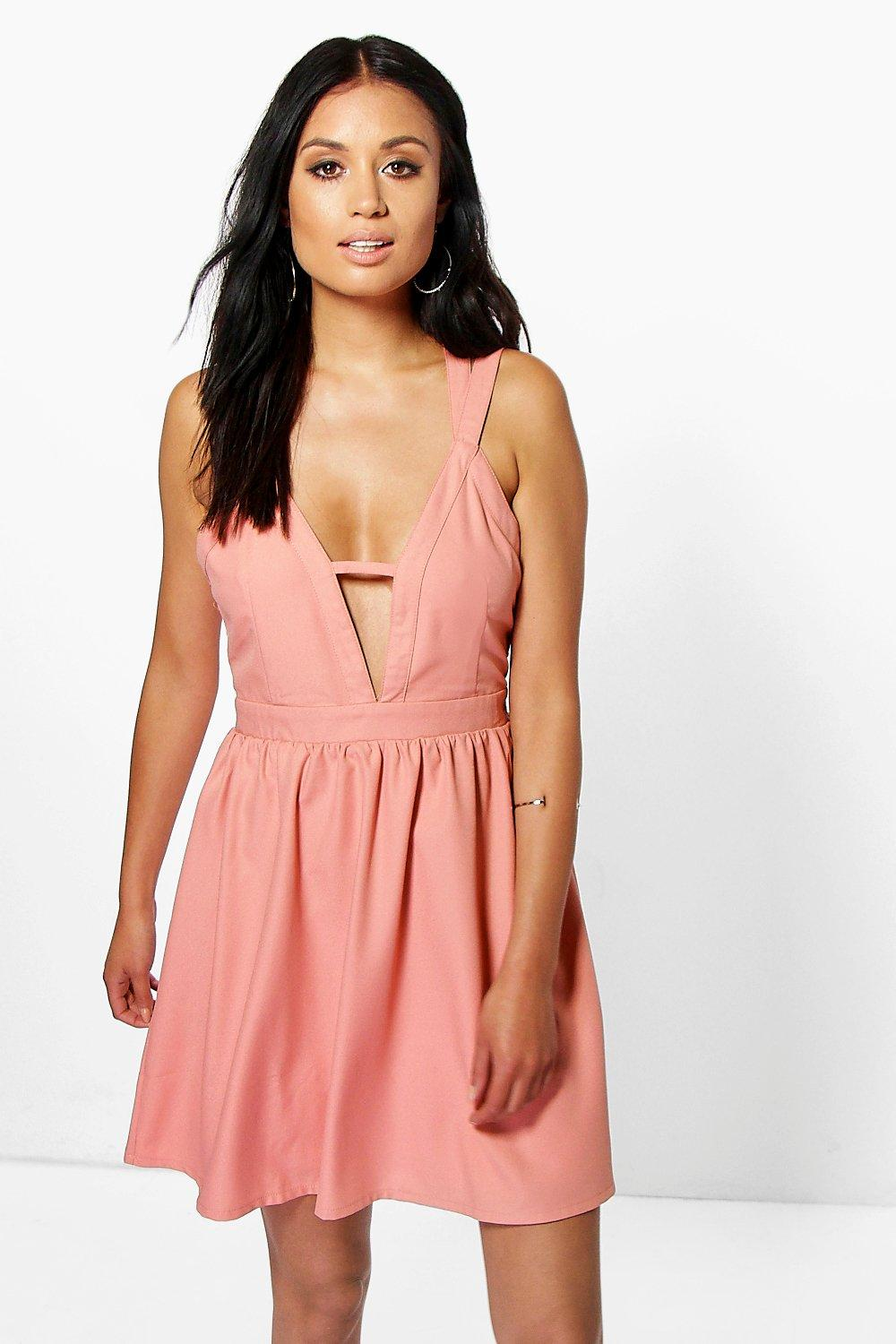 Strappy Detail Skater Dress - blush