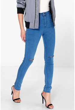 Lara High Waist Knee Rip Jeans
