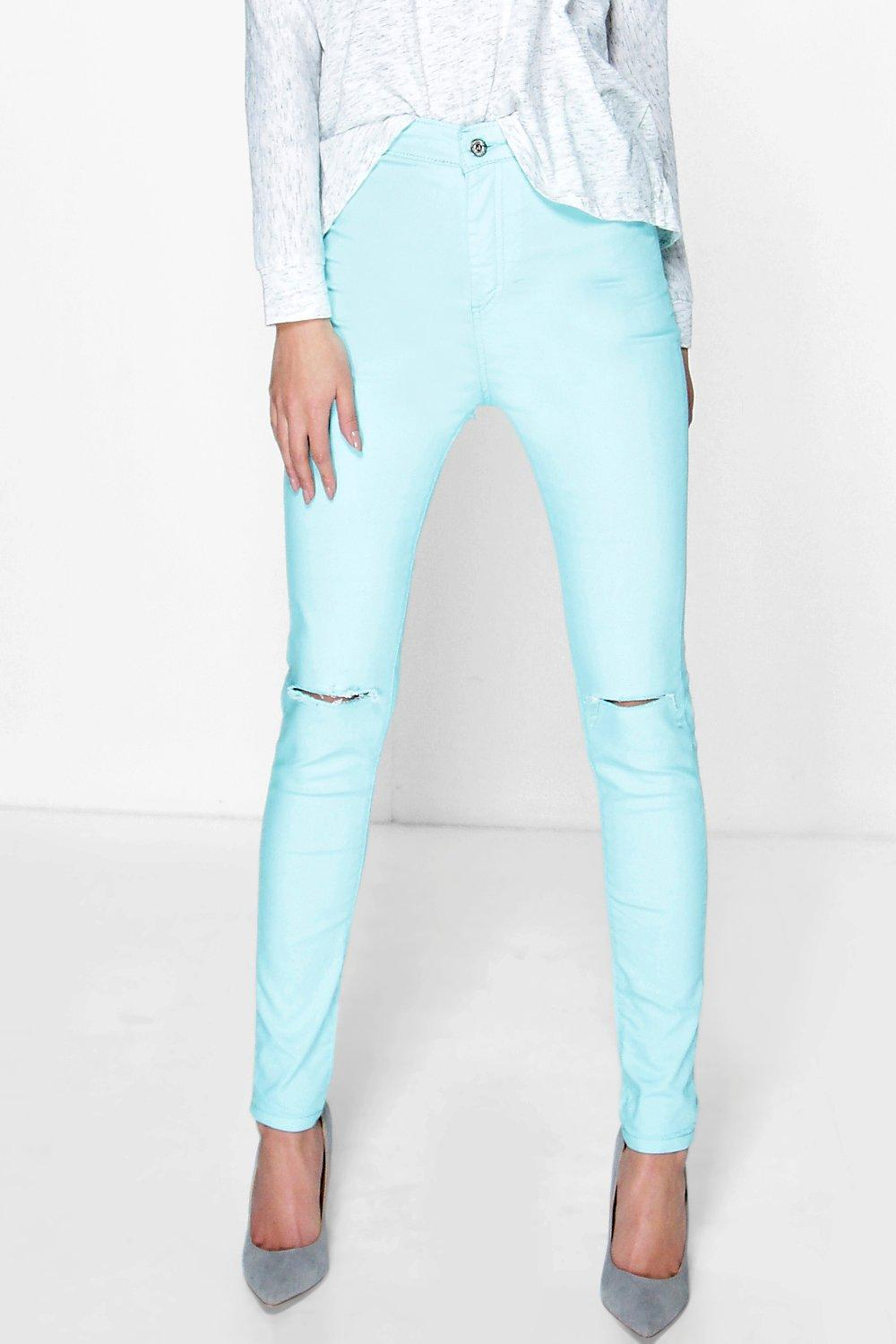 Stretch High Knee Rip Jeans green