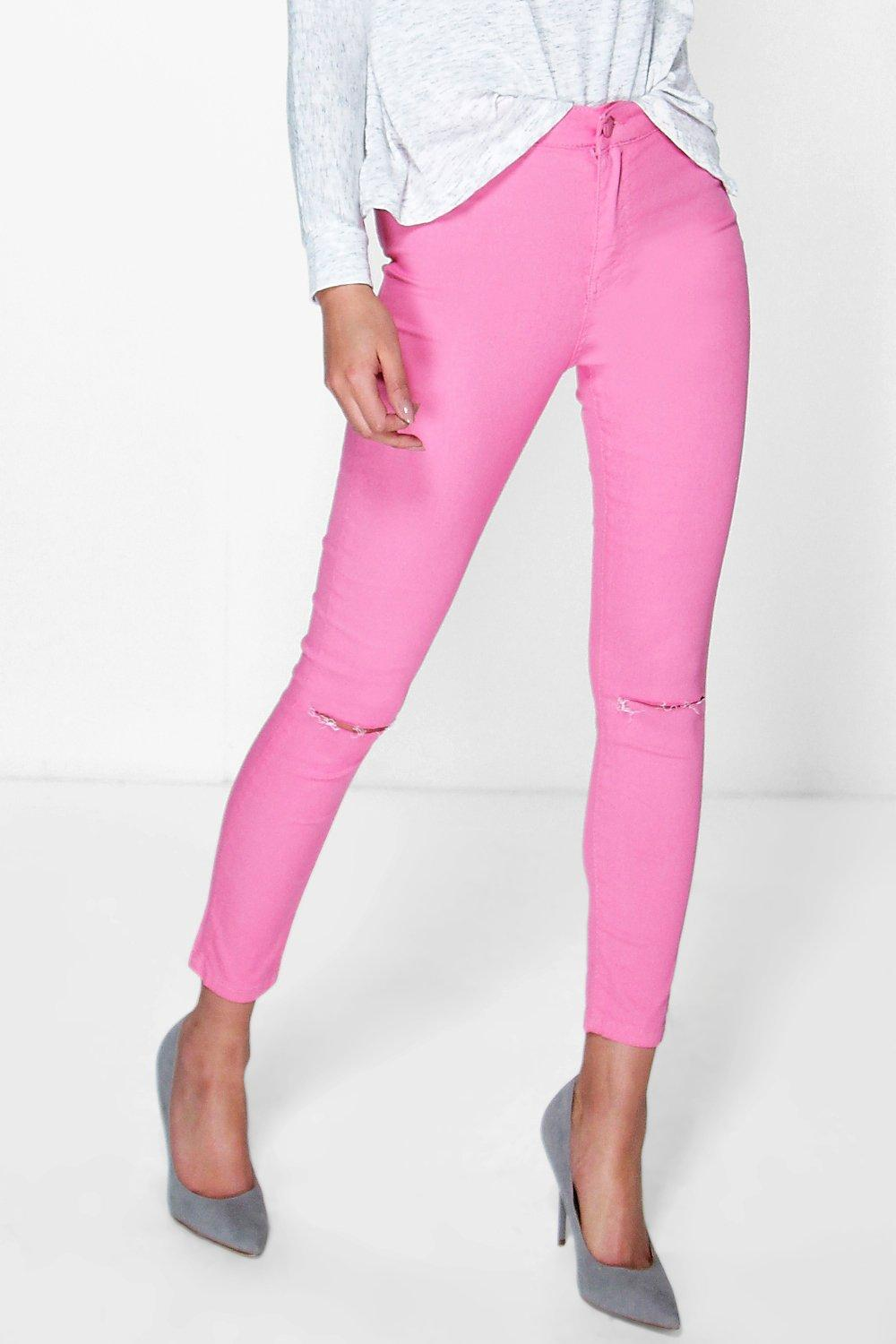 Lara Stretch High Knee Rip Jeans