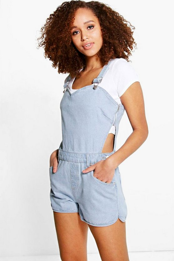 Sydney Sweetheart Bib Denim Dungaree Shorts