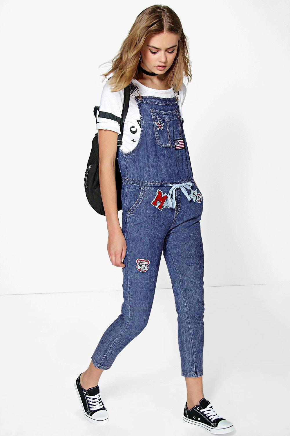 Suzie Denim Dungarees With Patches