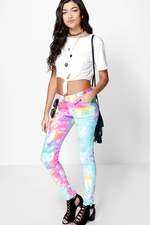 Tie Dye Denim Skinny Jeans multi