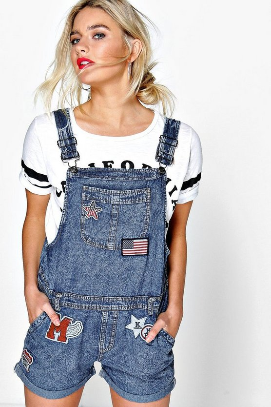 Suzie Denim Dungaree Shorts With Patches
