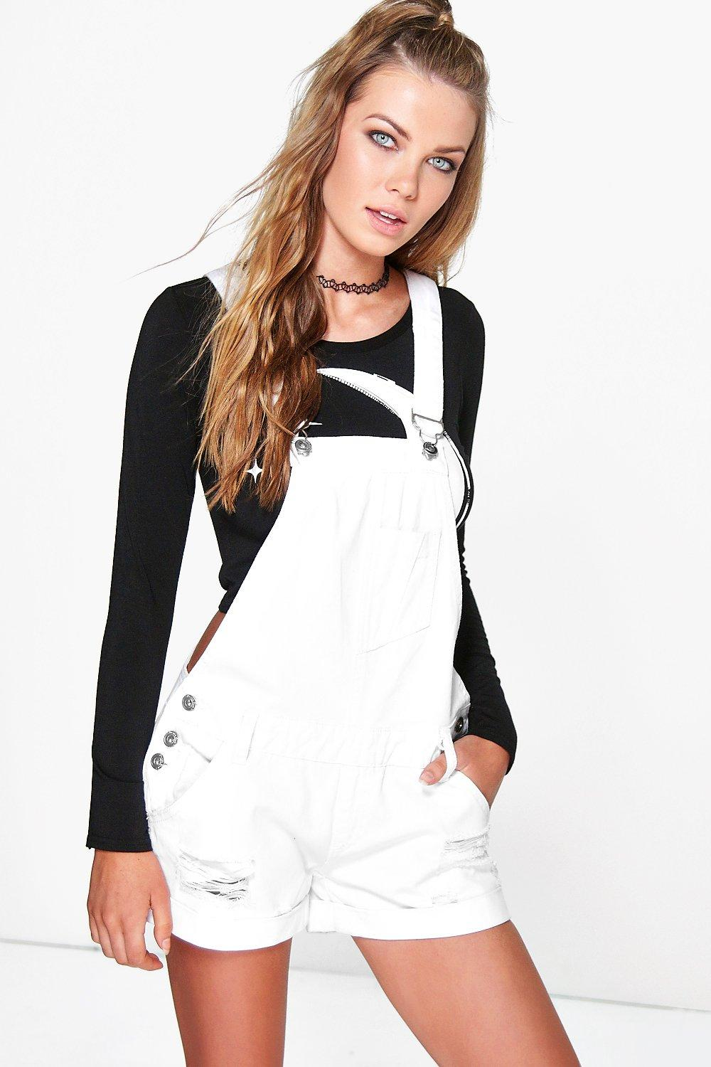 Eadie White Denim Dungaree Shorts