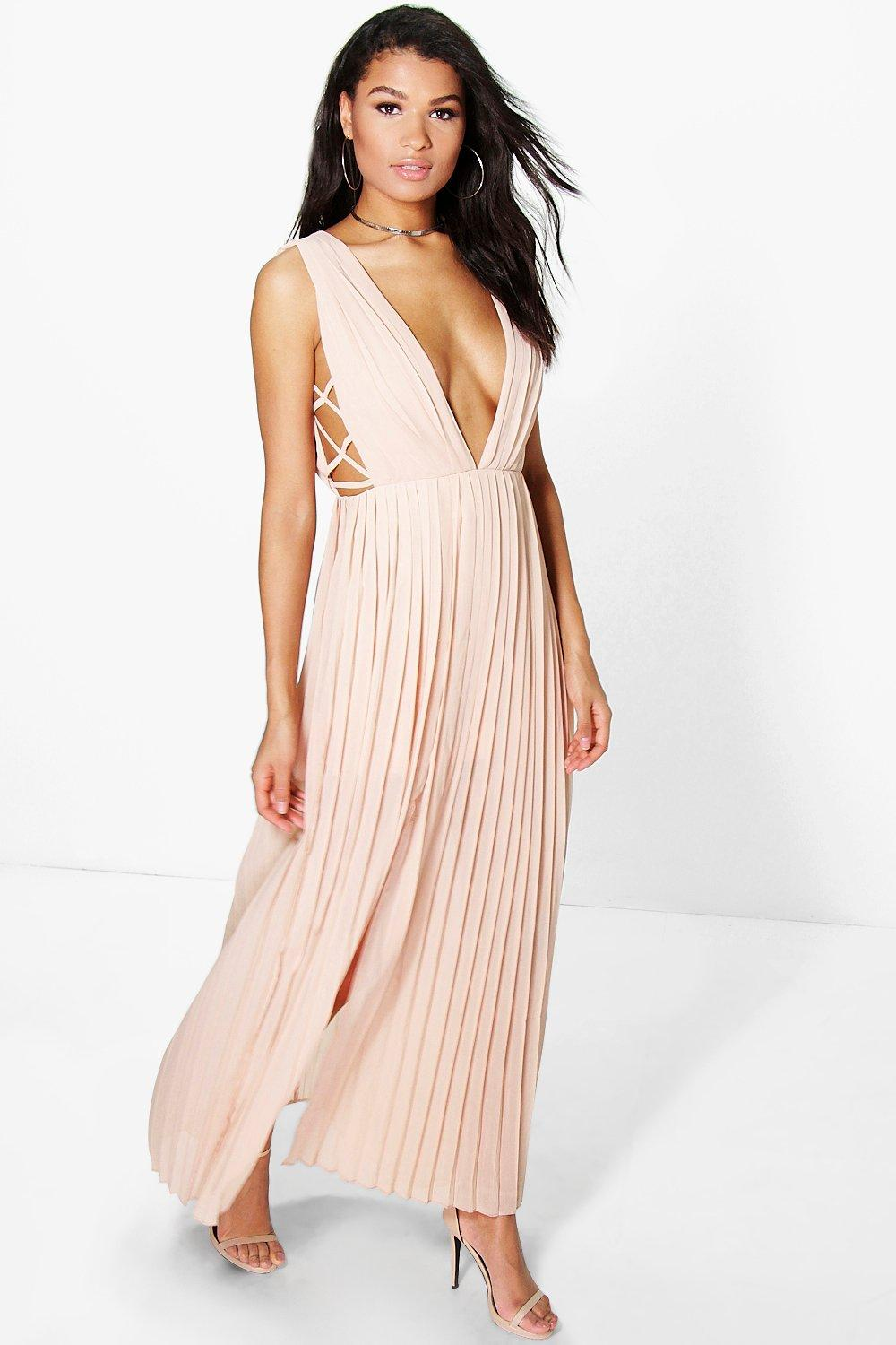 Boutique Tama Pleated Strappy Side Maxi Dress