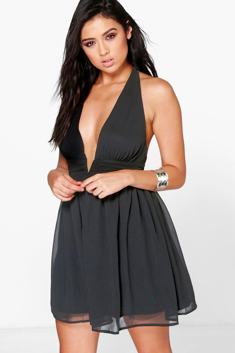Takeko Chiffon Deep V Ruched Skater Dress