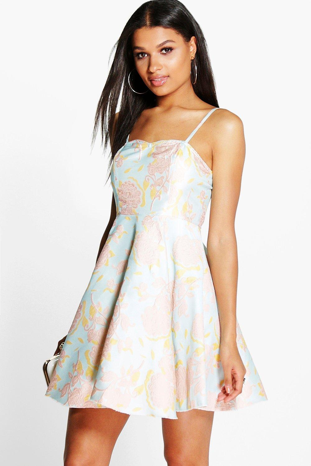 Boutique Miki Floral Jacquard Sweetheart Midi Dress