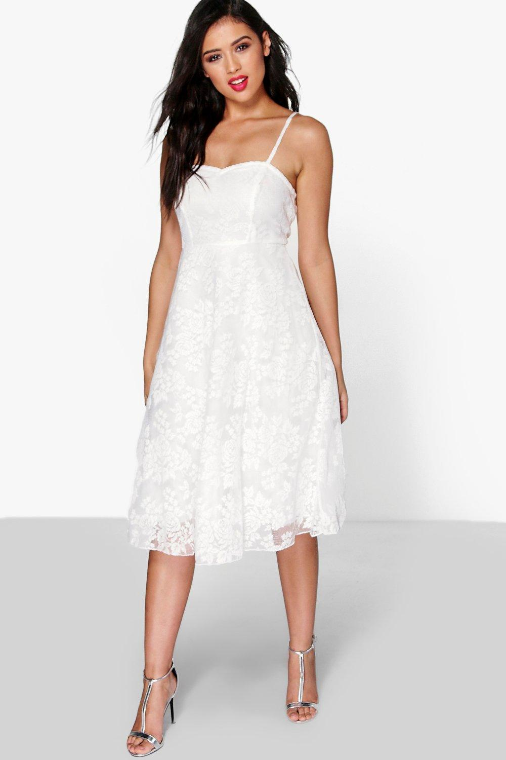 Boutique Li Lace Strappy Sweetheart Midi Dress
