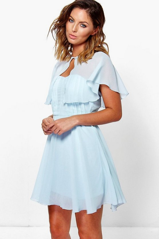 Chiffon Bandeau Skater Dress With Cape