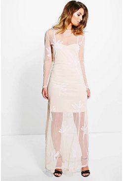Boutique Yoshie Embroidered Mesh Maxi Dress