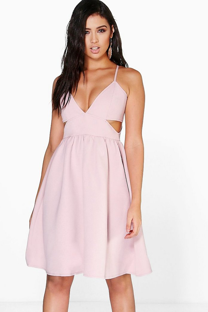 Boutique Jia Jacquard Cut Out Skater Dress