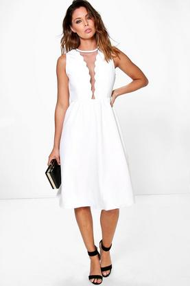 Boutique Lai Scallop & Mesh Neckline Skater Dress