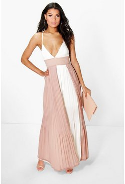 Boutique Lin Pleated Colour Block Maxi Dress