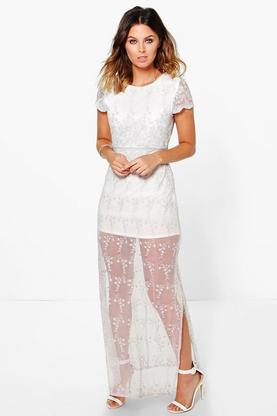 Boutique Liling All Over Embroidered Maxi Dress