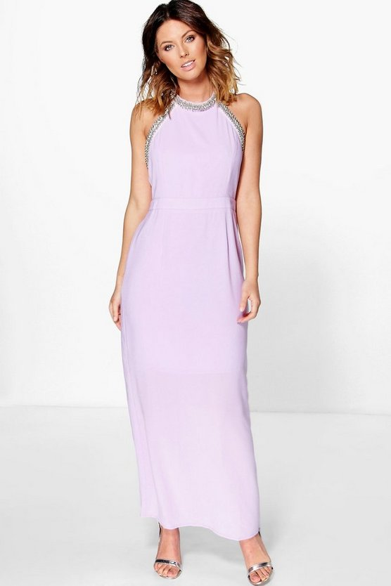 Boutique Mei Embellished Halterneck Maxi Dress