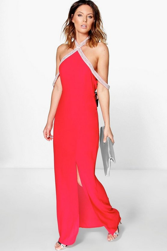 Boutique Jade Embellished Halterneck Maxi Dress