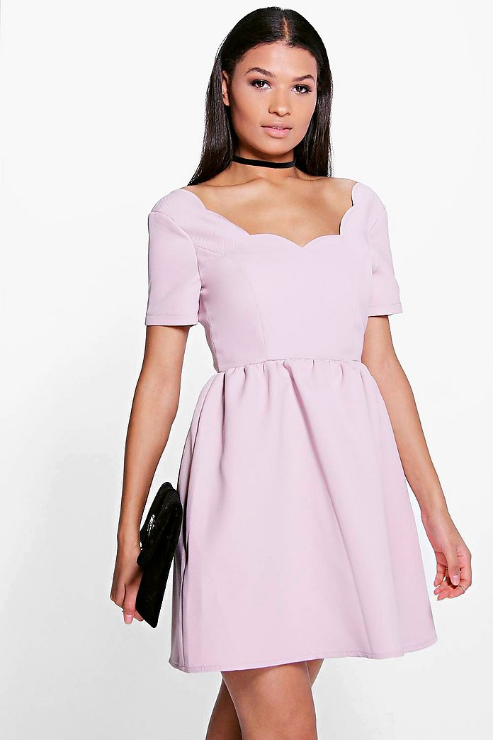 Meiying Scallop Neckline Jacquard Skater Dress