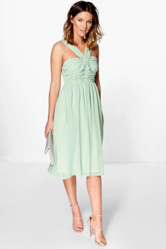 Rowa Pleated Strappy Midi Skater Dress