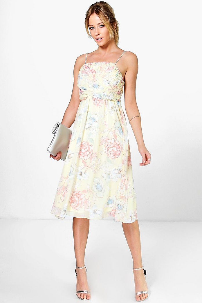 Lorelai Pleated Floral Print Strappy Midi Dress