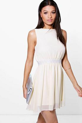 Ramia Embellished Waist Chiffon Skater Dress