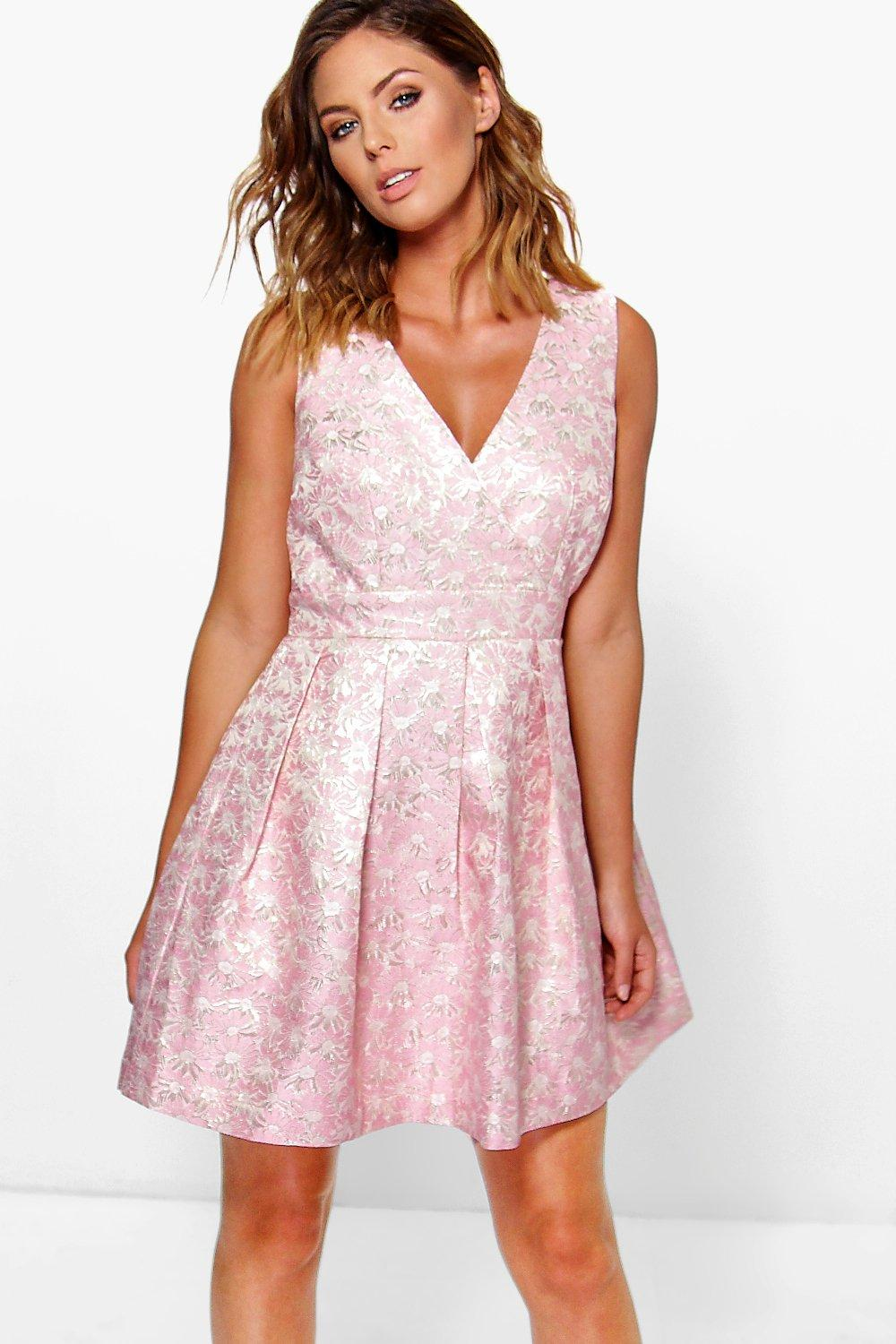 Boutique Isa Jaquard Cut Out Detail Skater Dress