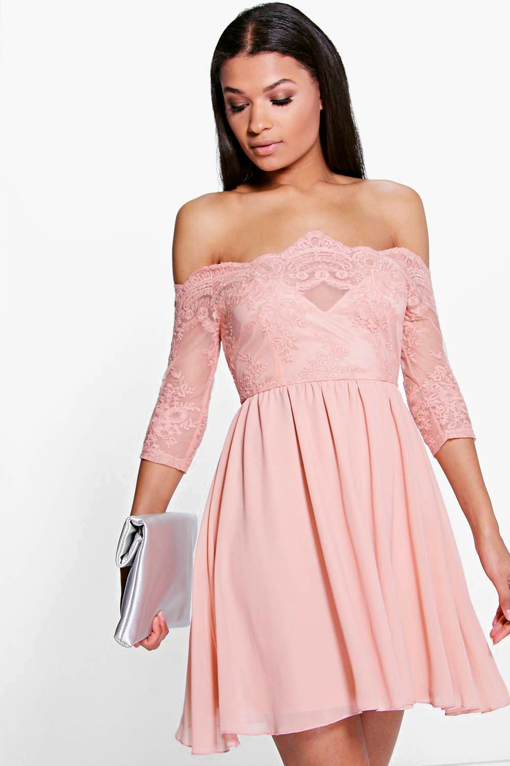 Ria Embroidered Mesh Skater Dress  blush
