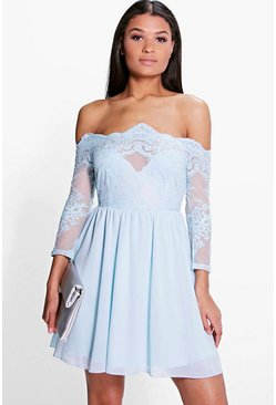 Boutique Ria Embroidered Mesh Skater Dress